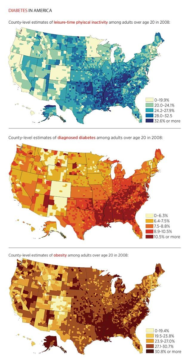 Map USA by county - Inactivity-Diabetes-Obesity 2008